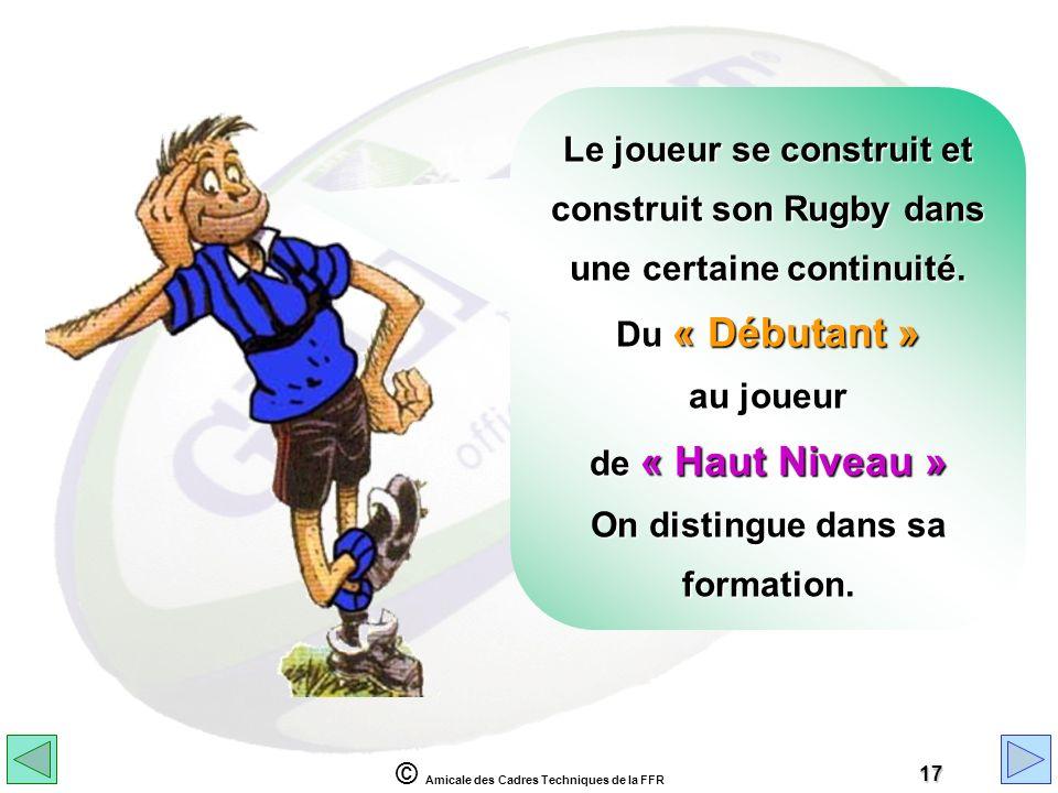 © Amicale des Cadres Techniques de la FFR 17 Le joueur se construit et construit son Rugby dans une certaine continuité. Du « Débutant » au joueur de