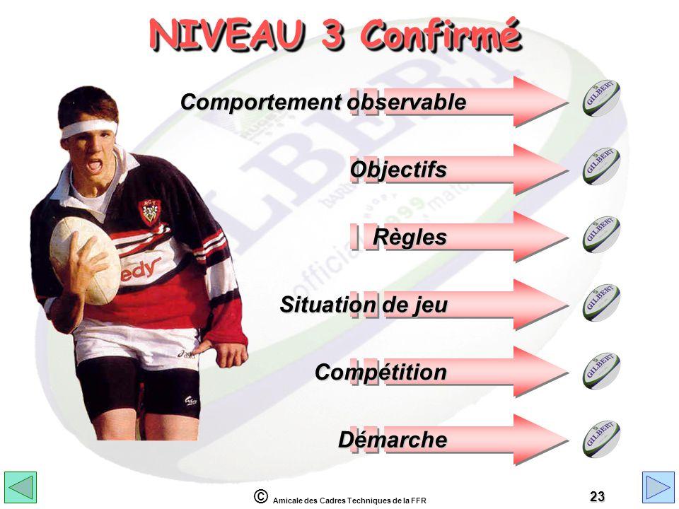 © Amicale des Cadres Techniques de la FFR 23 NIVEAU 3 Confirmé Comportement observable Objectifs Règles Situation de jeu Compétition Démarche