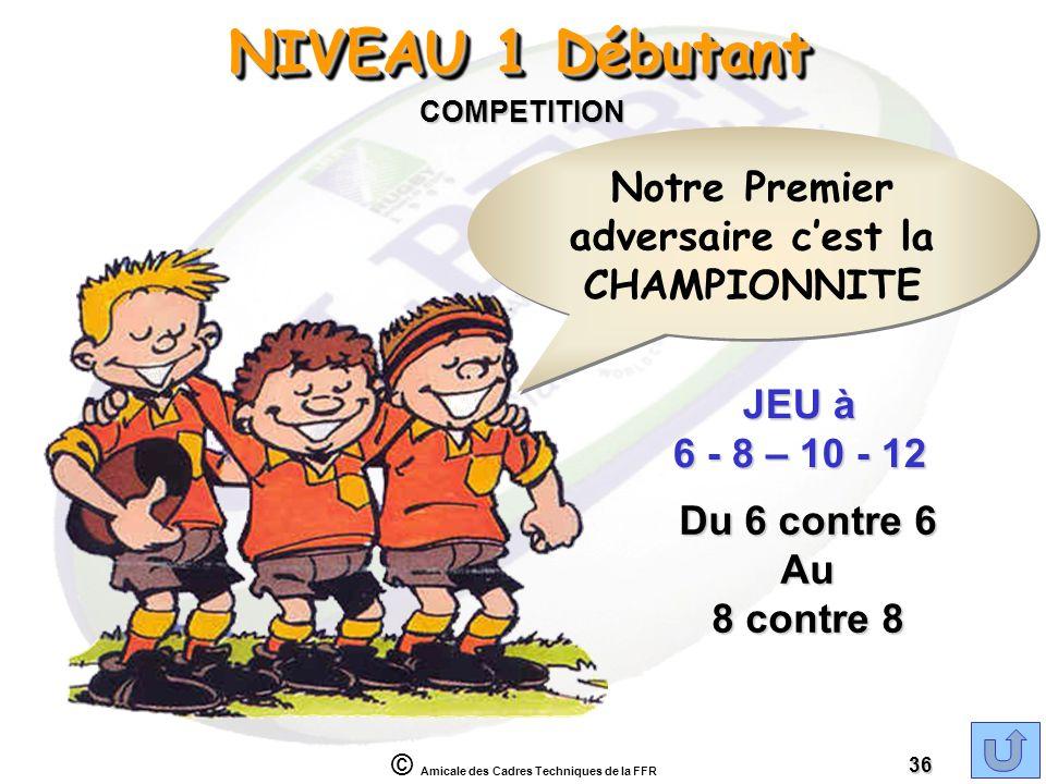 © Amicale des Cadres Techniques de la FFR 36 NIVEAU 1 Débutant COMPETITION JEU à 6 - 8 – 10 - 12 Du 6 contre 6 Au 8 contre 8 Notre Premier adversaire