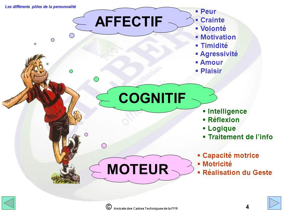 © Amicale des Cadres Techniques de la FFR 4 COGNITIF Intelligence Réflexion Logique Traitement de linfo AFFECTIF Peur Crainte Volonté Motivation Timid