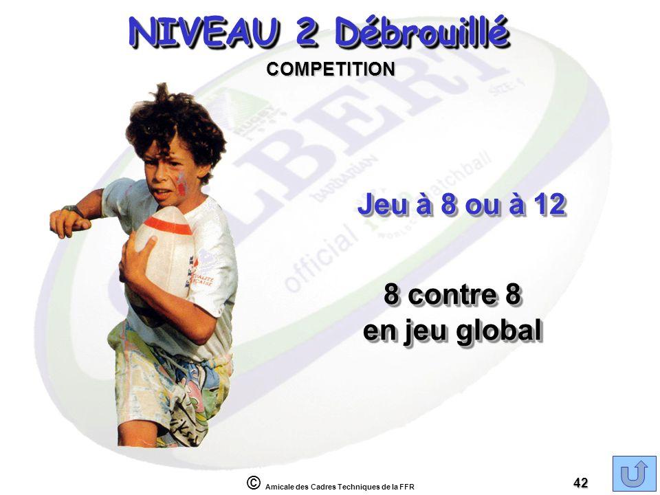 © Amicale des Cadres Techniques de la FFR 42 NIVEAU 2 Débrouillé Jeu à 8 ou à 12 COMPETITION 8 contre 8 en jeu global 8 contre 8 en jeu global