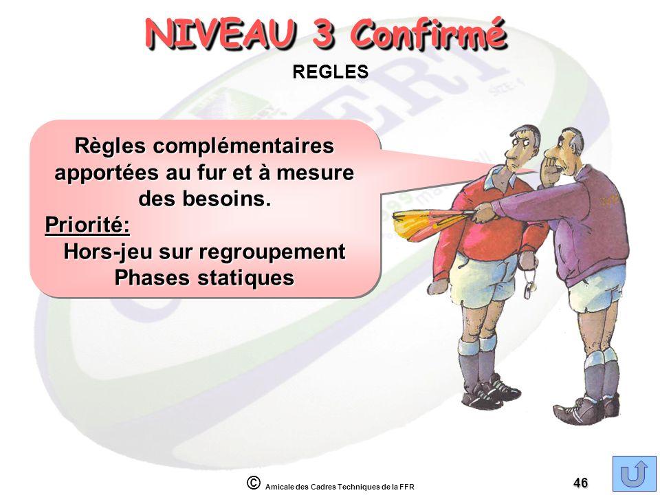 © Amicale des Cadres Techniques de la FFR 46 NIVEAU 3 Confirmé REGLES Règles complémentaires apportées au fur et à mesure des besoins. Priorité: Hors-