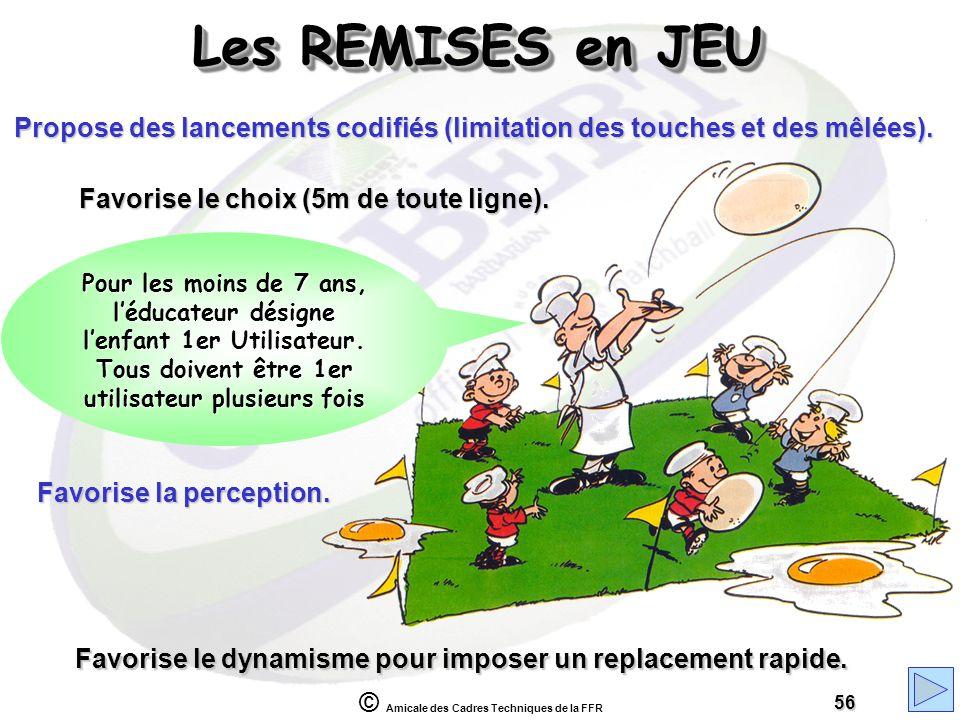 © Amicale des Cadres Techniques de la FFR 56 Favorise le dynamisme pour imposer un replacement rapide. Les REMISES en JEU Favorise la perception. Favo