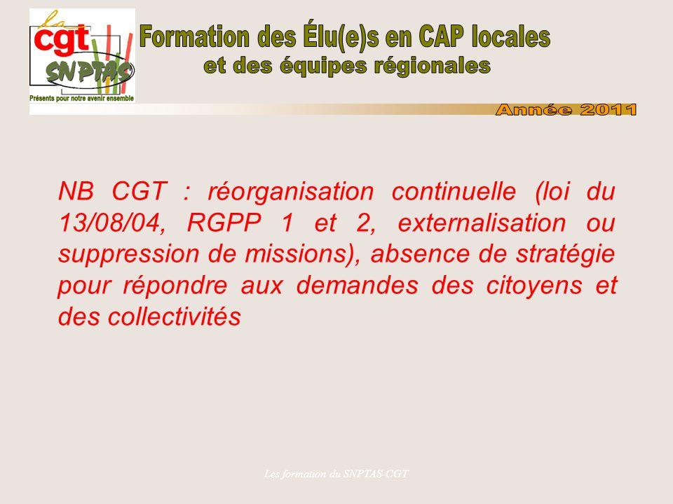 Les formation du SNPTAS-CGT NB CGT : réorganisation continuelle (loi du 13/08/04, RGPP 1 et 2, externalisation ou suppression de missions), absence de stratégie pour répondre aux demandes des citoyens et des collectivités