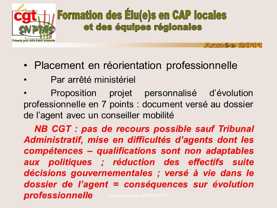 Les formation du SNPTAS-CGT Placement en réorientation professionnelle Par arrêté ministériel Proposition projet personnalisé dévolution professionnel