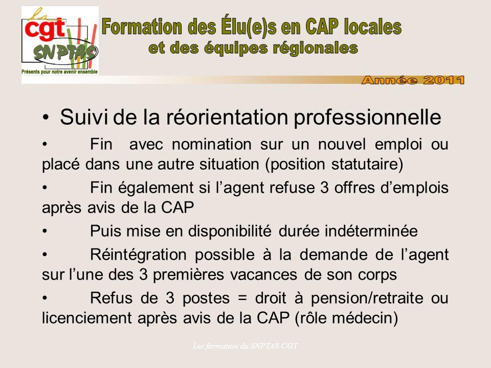Les formation du SNPTAS-CGT Suivi de la réorientation professionnelle Fin avec nomination sur un nouvel emploi ou placé dans une autre situation (posi
