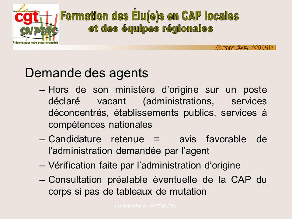 Les formation du SNPTAS-CGT Demande des agents –Hors de son ministère dorigine sur un poste déclaré vacant (administrations, services déconcentrés, ét