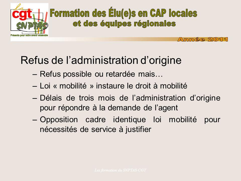 Les formation du SNPTAS-CGT Refus de ladministration dorigine –Refus possible ou retardée mais… –Loi « mobilité » instaure le droit à mobilité –Délais