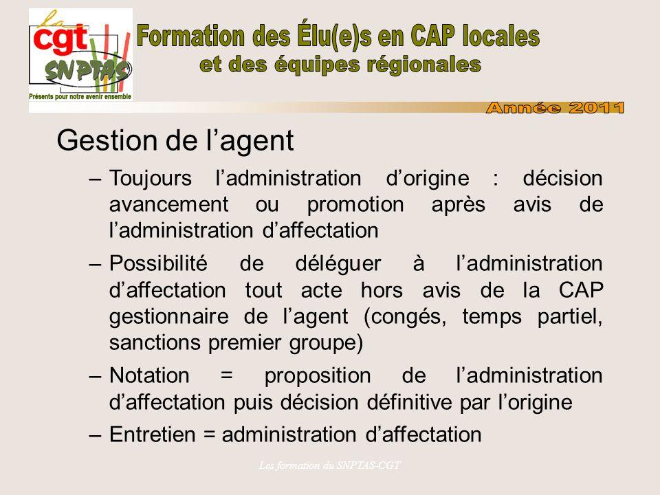 Les formation du SNPTAS-CGT Gestion de lagent –Toujours ladministration dorigine : décision avancement ou promotion après avis de ladministration daff