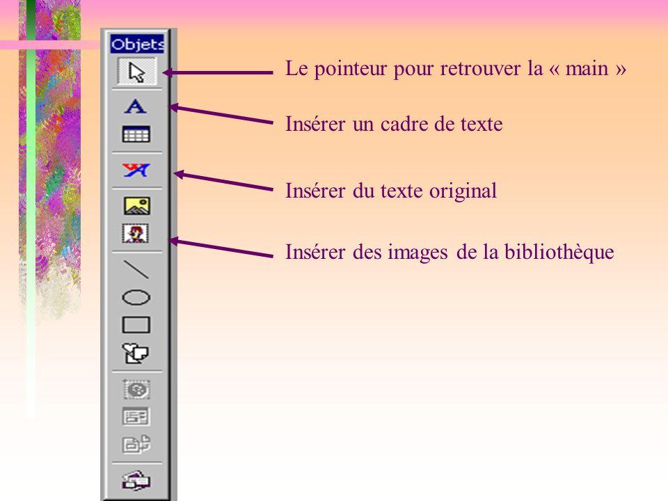 Le pointeur pour retrouver la « main » Insérer un cadre de texte Insérer du texte original Insérer des images de la bibliothèque