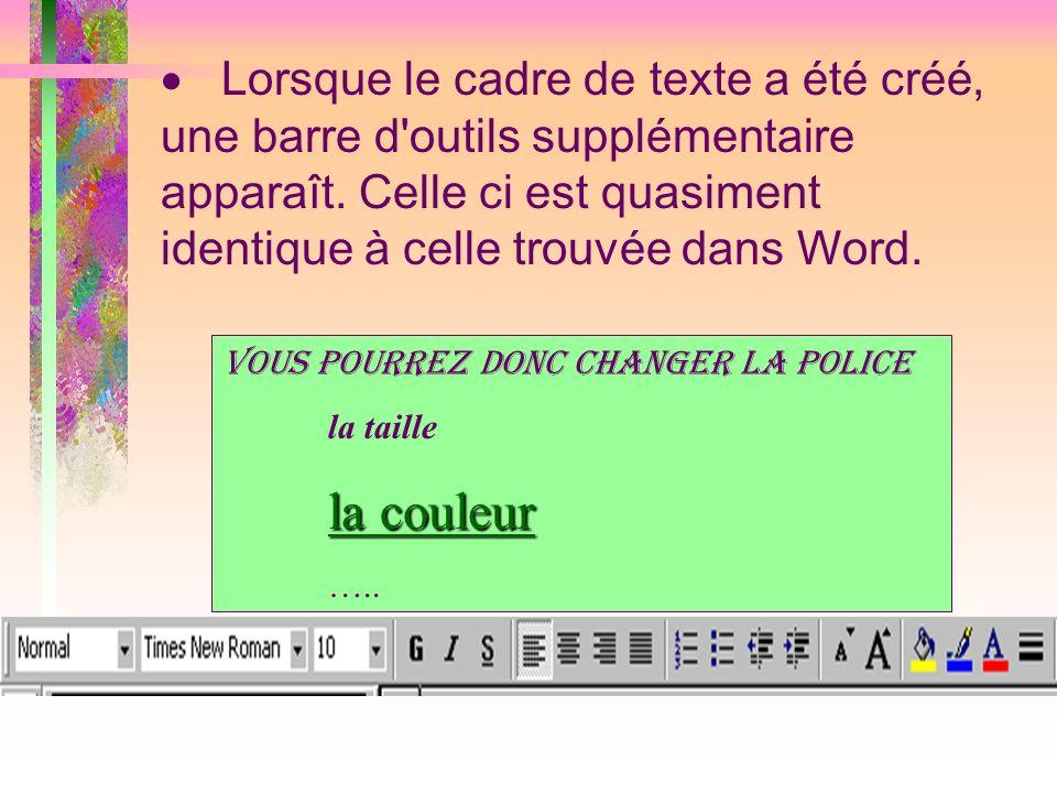 Lorsque le cadre de texte a été créé, une barre d'outils supplémentaire apparaît. Celle ci est quasiment identique à celle trouvée dans Word. Vous pou