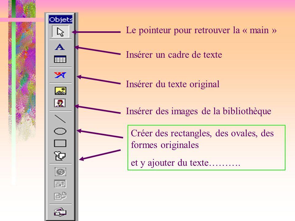 Le pointeur pour retrouver la « main » Insérer un cadre de texte Insérer du texte original Insérer des images de la bibliothèque Créer des rectangles,