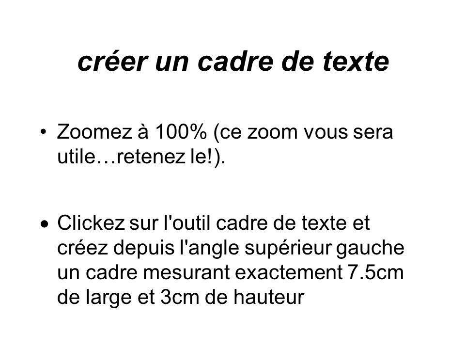 créer un cadre de texte Zoomez à 100% (ce zoom vous sera utile…retenez le!).