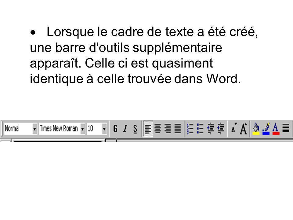 Lorsque le cadre de texte a été créé, une barre d outils supplémentaire apparaît.