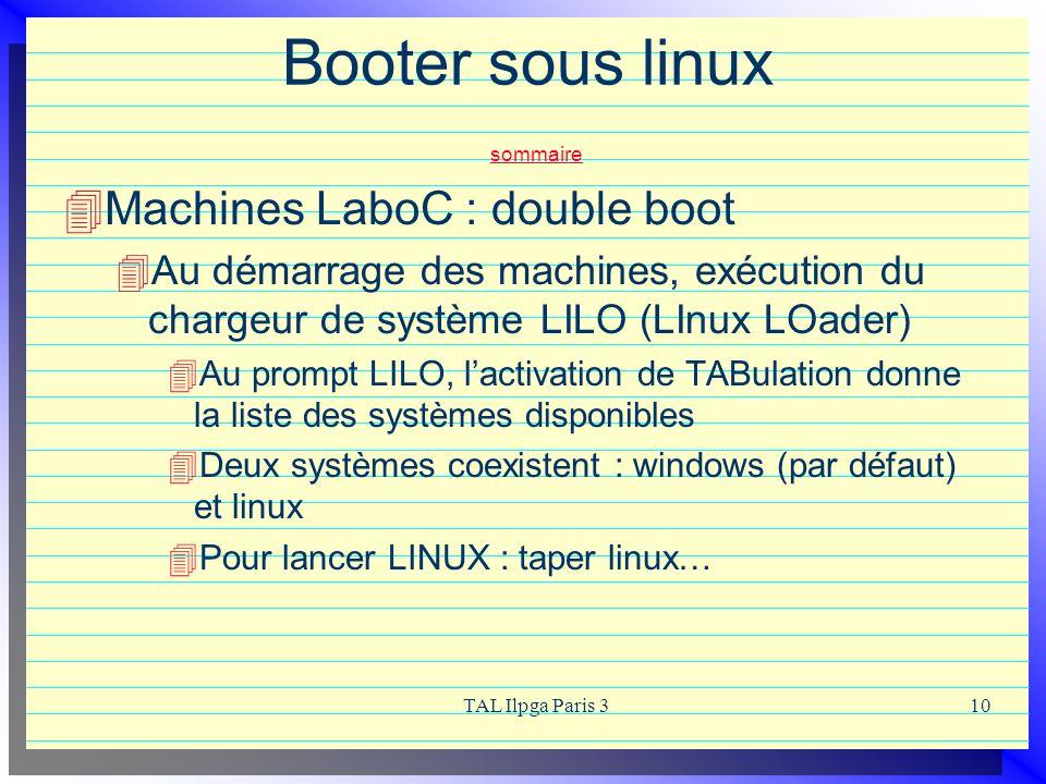 TAL Ilpga Paris 310 Booter sous linux sommaire sommaire Machines LaboC : double boot Au démarrage des machines, exécution du chargeur de système LILO