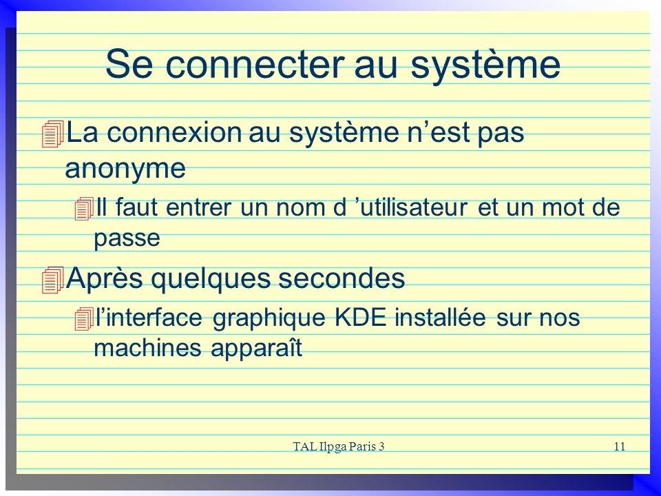 TAL Ilpga Paris 311 Se connecter au système La connexion au système nest pas anonyme Il faut entrer un nom d utilisateur et un mot de passe Après quel