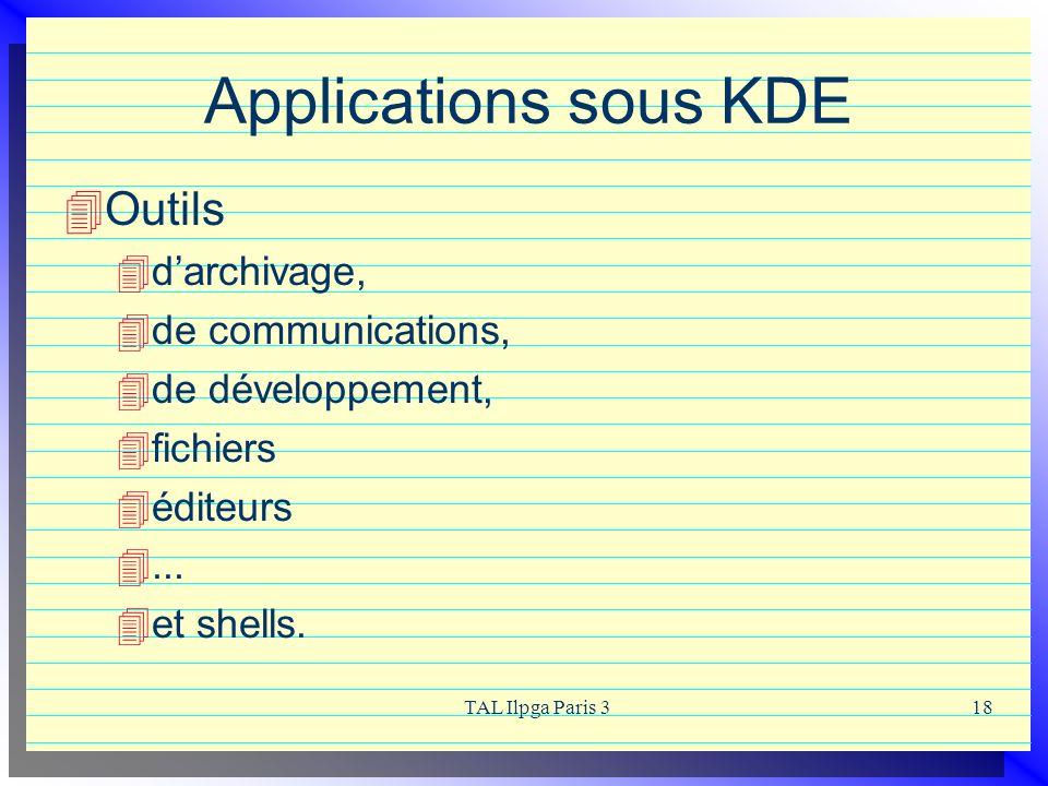 TAL Ilpga Paris 318 Applications sous KDE Outils darchivage, de communications, de développement, fichiers éditeurs... et shells.
