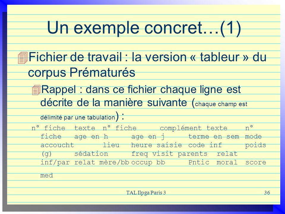 TAL Ilpga Paris 336 Un exemple concret…(1) Fichier de travail : la version « tableur » du corpus Prématurés Rappel : dans ce fichier chaque ligne est