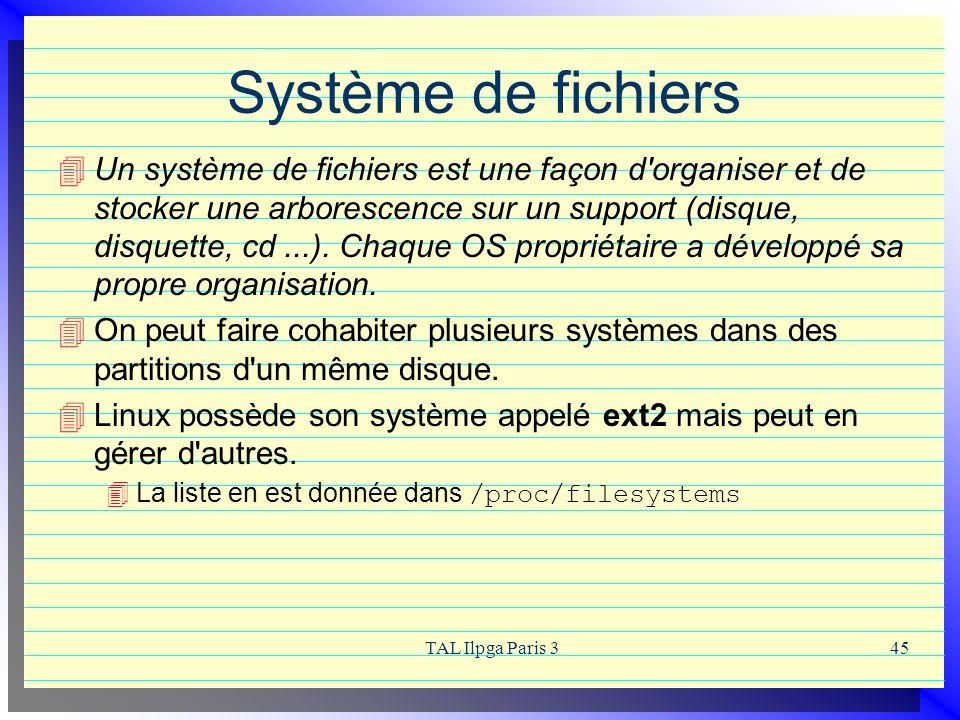 TAL Ilpga Paris 345 Système de fichiers Un système de fichiers est une façon d'organiser et de stocker une arborescence sur un support (disque, disque