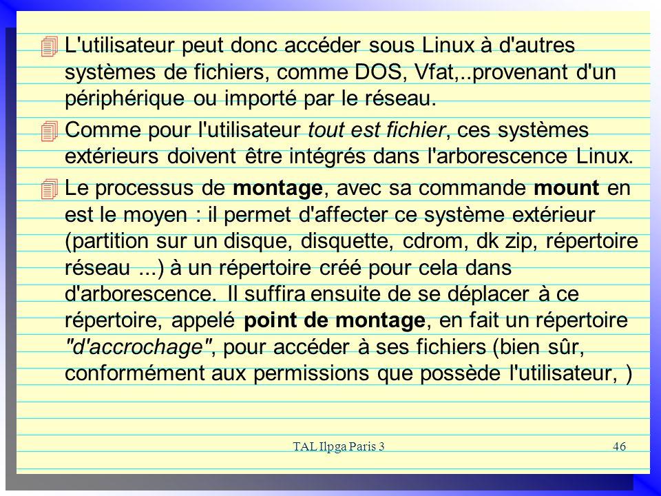 TAL Ilpga Paris 346 L'utilisateur peut donc accéder sous Linux à d'autres systèmes de fichiers, comme DOS, Vfat,..provenant d'un périphérique ou impor