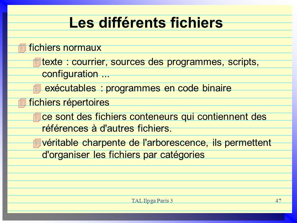 TAL Ilpga Paris 347 Les différents fichiers fichiers normaux texte : courrier, sources des programmes, scripts, configuration... exécutables : program