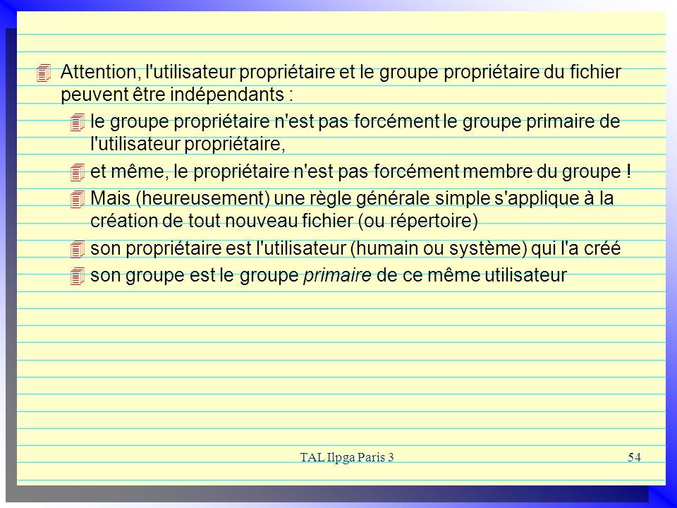 TAL Ilpga Paris 354 Attention, l'utilisateur propriétaire et le groupe propriétaire du fichier peuvent être indépendants : le groupe propriétaire n'es