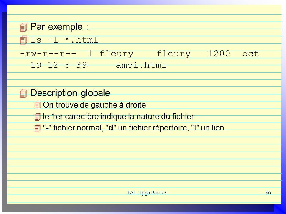 TAL Ilpga Paris 356 Par exemple : 4ls -l *.html -rw-r--r-- 1 fleury fleury 1200 oct 19 12 : 39 amoi.html Description globale On trouve de gauche à dro