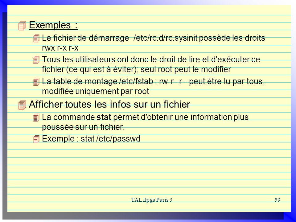 TAL Ilpga Paris 359 Exemples : Le fichier de démarrage /etc/rc.d/rc.sysinit possède les droits rwx r-x r-x Tous les utilisateurs ont donc le droit de