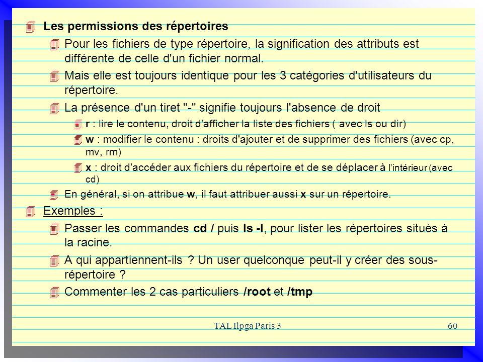 TAL Ilpga Paris 360 Les permissions des répertoires Pour les fichiers de type répertoire, la signification des attributs est différente de celle d'un