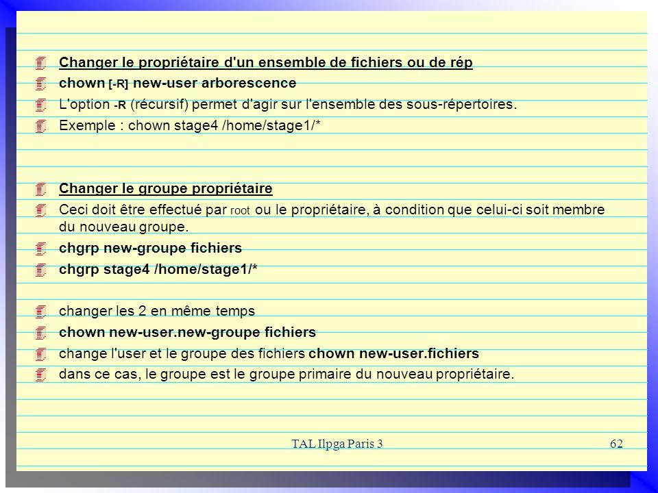 TAL Ilpga Paris 362 Changer le propriétaire d'un ensemble de fichiers ou de rép chown [-R] new-user arborescence L'option -R (récursif) permet d'agir