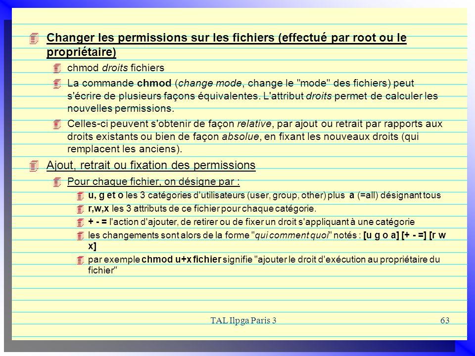 TAL Ilpga Paris 363 Changer les permissions sur les fichiers (effectué par root ou le propriétaire) chmod droits fichiers La commande chmod (change mo