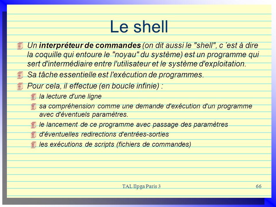 TAL Ilpga Paris 366 Le shell Un interpréteur de commandes (on dit aussi le
