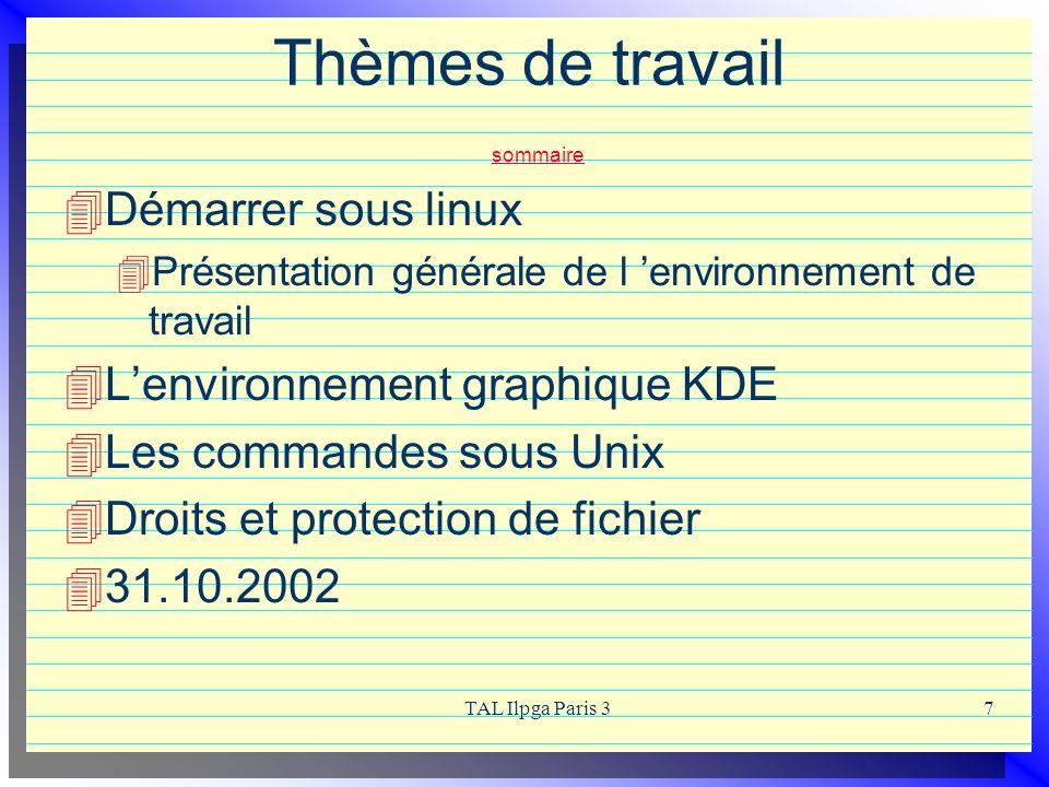 TAL Ilpga Paris 37 Thèmes de travail sommaire sommaire Démarrer sous linux Présentation générale de l environnement de travail Lenvironnement graphiqu