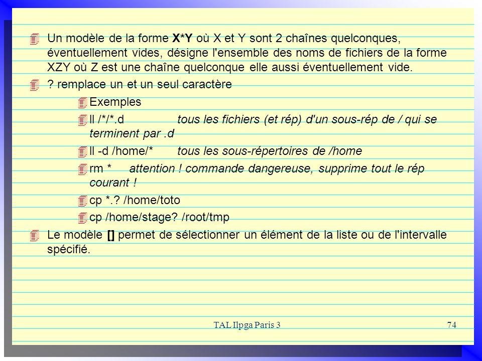 TAL Ilpga Paris 374 Un modèle de la forme X*Y où X et Y sont 2 chaînes quelconques, éventuellement vides, désigne l'ensemble des noms de fichiers de l