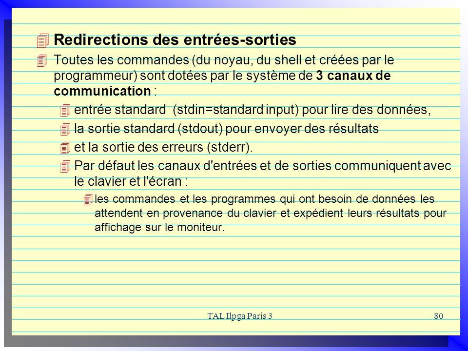 TAL Ilpga Paris 380 Redirections des entrées-sorties Toutes les commandes (du noyau, du shell et créées par le programmeur) sont dotées par le système