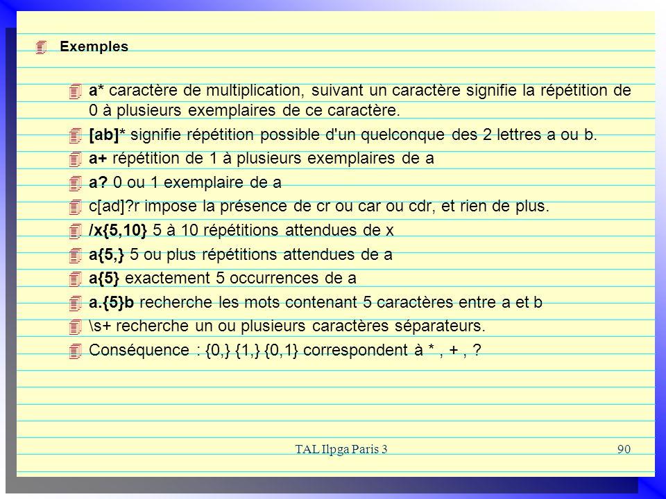 TAL Ilpga Paris 390 Exemples a* caractère de multiplication, suivant un caractère signifie la répétition de 0 à plusieurs exemplaires de ce caractère.