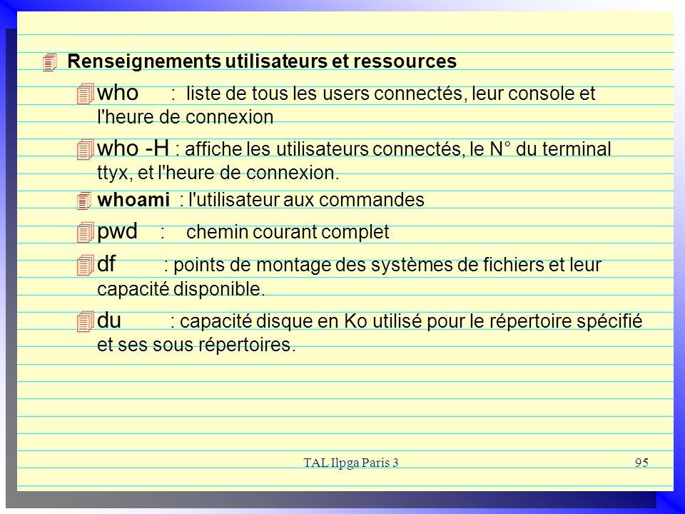 TAL Ilpga Paris 395 Renseignements utilisateurs et ressources who : liste de tous les users connectés, leur console et l'heure de connexion who -H : a