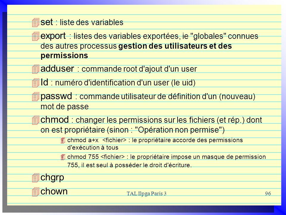 TAL Ilpga Paris 396 set : liste des variables export : listes des variables exportées, ie
