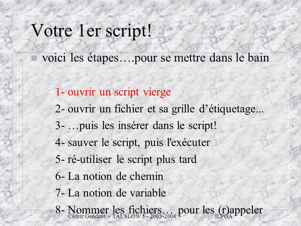 Cédric Gendrot - TAL SLOW 5 - 2003-2004 - ILPGA Votre 1er script! n voici les étapes….pour se mettre dans le bain – 1- ouvrir un script vierge – 2- ou