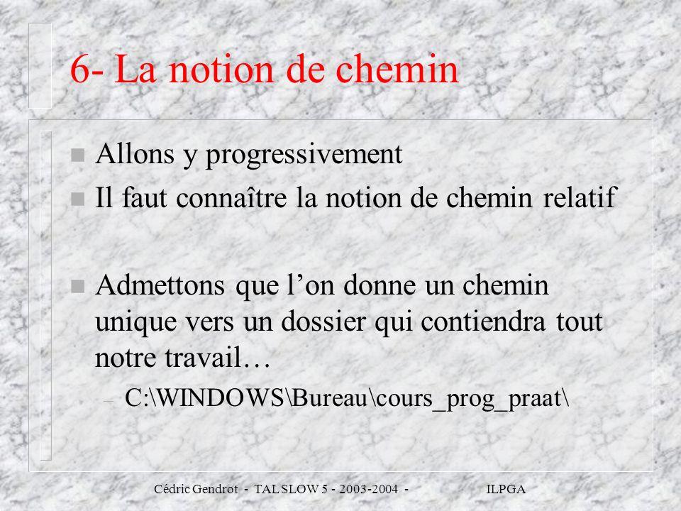 Cédric Gendrot - TAL SLOW 5 - 2003-2004 - ILPGA 6- La notion de chemin n Allons y progressivement n Il faut connaître la notion de chemin relatif n Ad