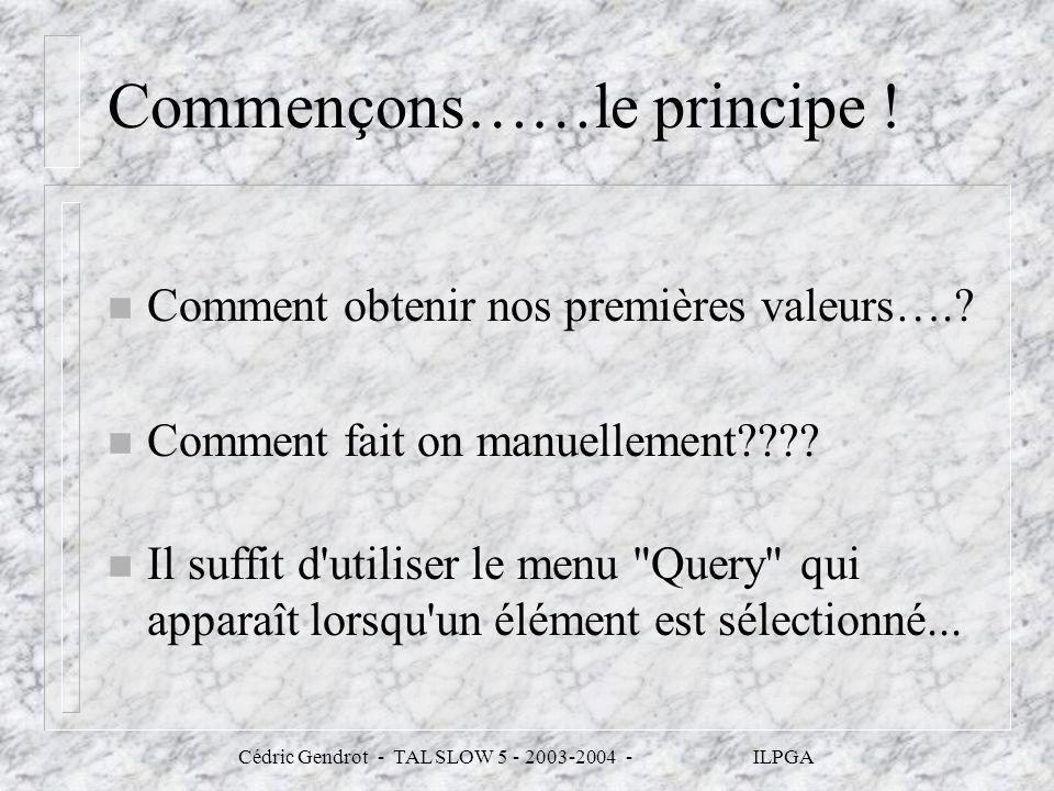 Cédric Gendrot - TAL SLOW 5 - 2003-2004 - ILPGA Commençons……le principe ! n Comment obtenir nos premières valeurs….? n Comment fait on manuellement???