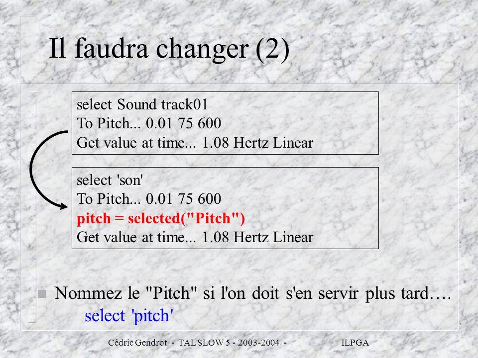 Cédric Gendrot - TAL SLOW 5 - 2003-2004 - ILPGA Il faudra changer (2) n Nommez le