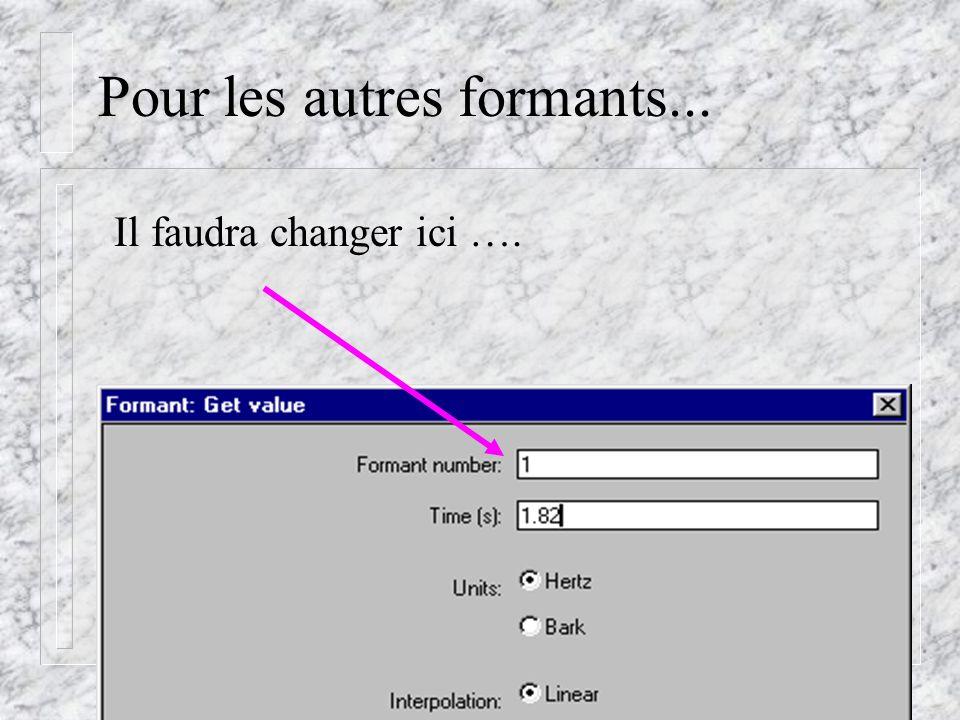 Cédric Gendrot - TAL SLOW 5 - 2003-2004 - ILPGA Pour les autres formants... Il faudra changer ici ….