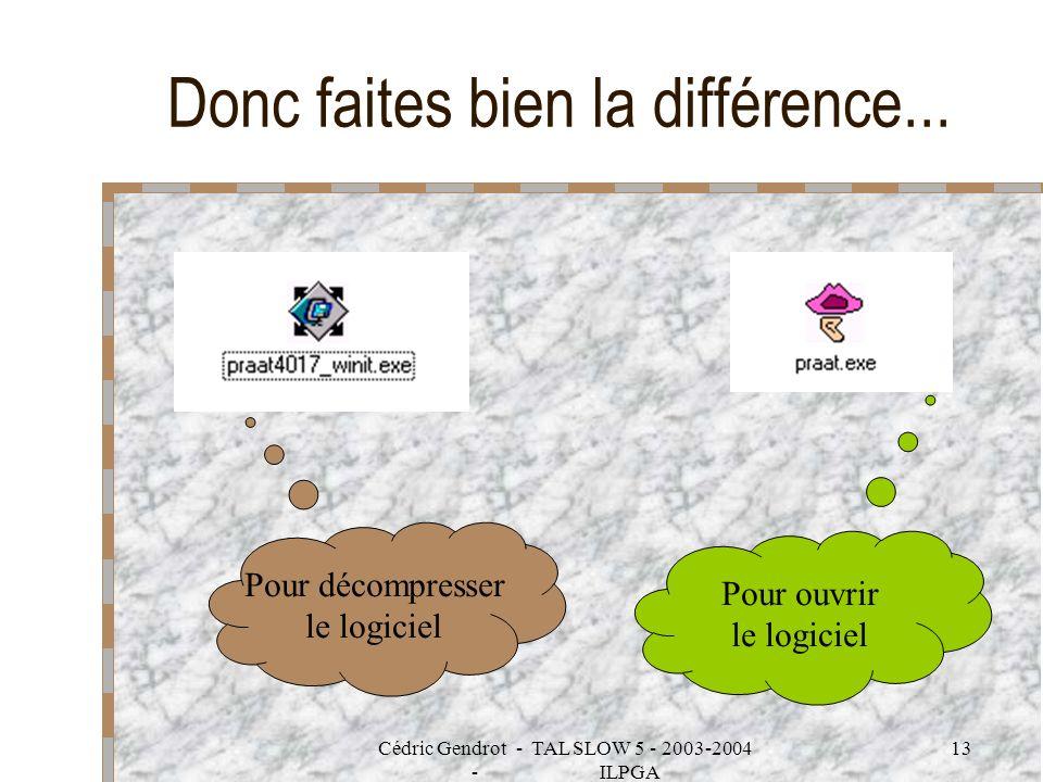 Cédric Gendrot - TAL SLOW 5 - 2003-2004 - ILPGA 13 Donc faites bien la différence... Pour décompresser le logiciel Pour ouvrir le logiciel