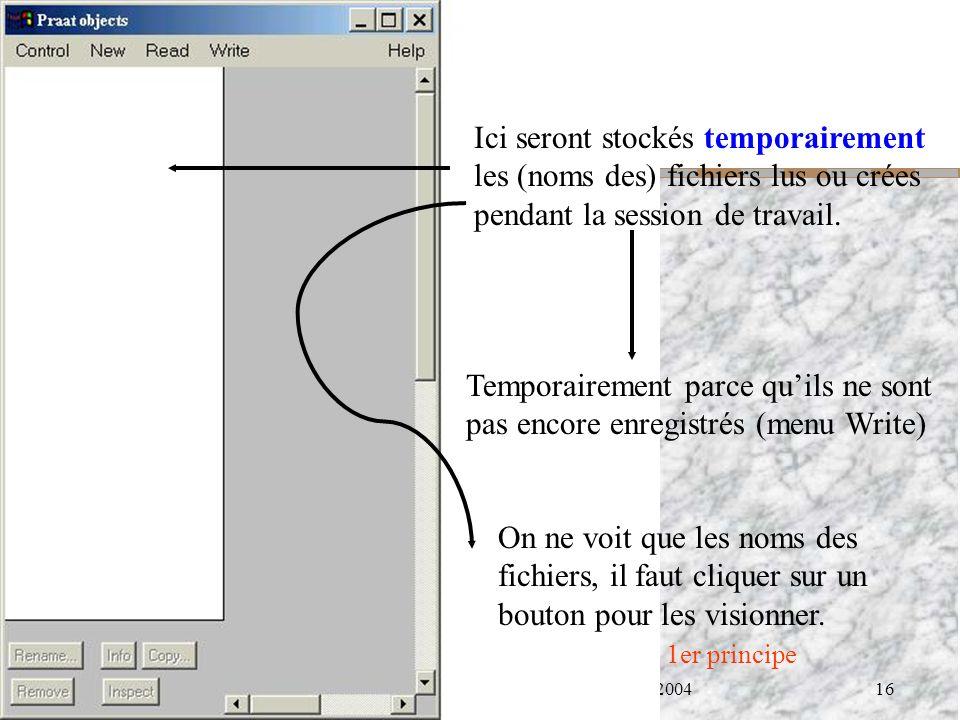 Cédric Gendrot - TAL SLOW 5 - 2003-2004 - ILPGA 16 Ici seront stockés temporairement les (noms des) fichiers lus ou crées pendant la session de travai
