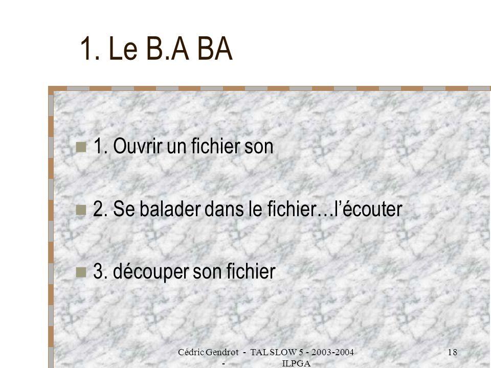 Cédric Gendrot - TAL SLOW 5 - 2003-2004 - ILPGA 18 1. Le B.A BA 1. Ouvrir un fichier son 2. Se balader dans le fichier…lécouter 3. découper son fichie