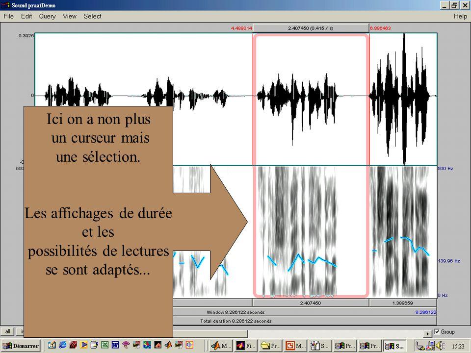 Cédric Gendrot - TAL SLOW 5 - 2003-2004 - ILPGA 25 Ici on a non plus un curseur mais une sélection. Les affichages de durée et les possibilités de lec