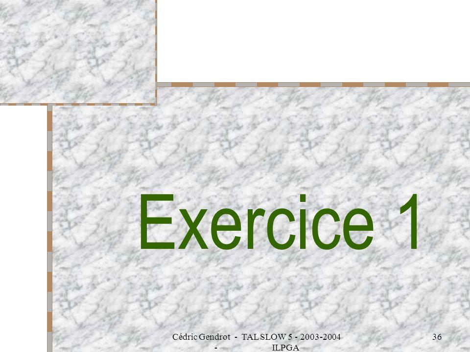 Cédric Gendrot - TAL SLOW 5 - 2003-2004 - ILPGA 36 Exercice 1