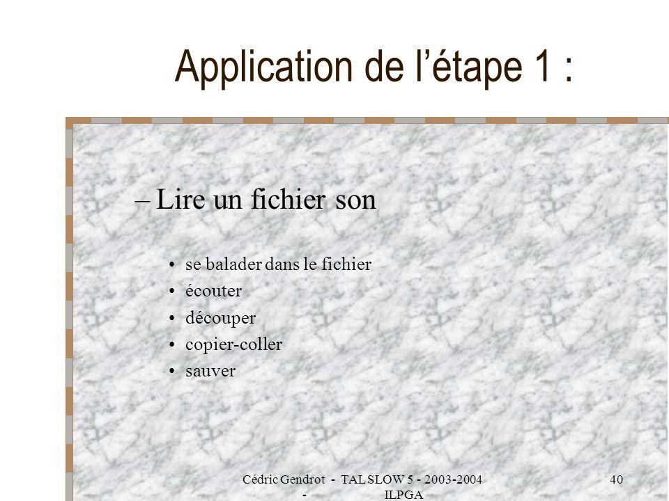 Cédric Gendrot - TAL SLOW 5 - 2003-2004 - ILPGA 40 –Lire un fichier son se balader dans le fichier écouter découper copier-coller sauver Application d
