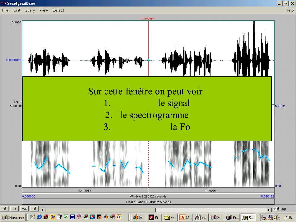 Cédric Gendrot - TAL SLOW 5 - 2003-2004 - ILPGA 46 Sur cette fenêtre on peut voir 1. le signal 2.le spectrogramme 3. la Fo